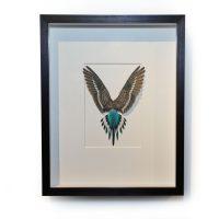 14 x 18 Shell Parakeet Bird - Light blue and grey