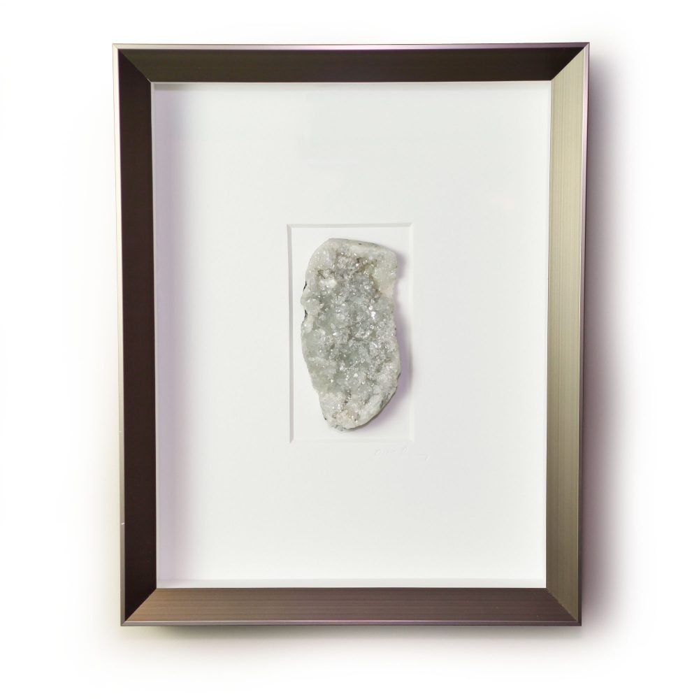 11 x 14 Apophyllite and Quartz - Neutral Druze white and gray coloration