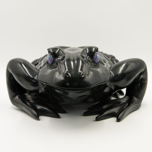 Jet Black Frog with Opal Eyes