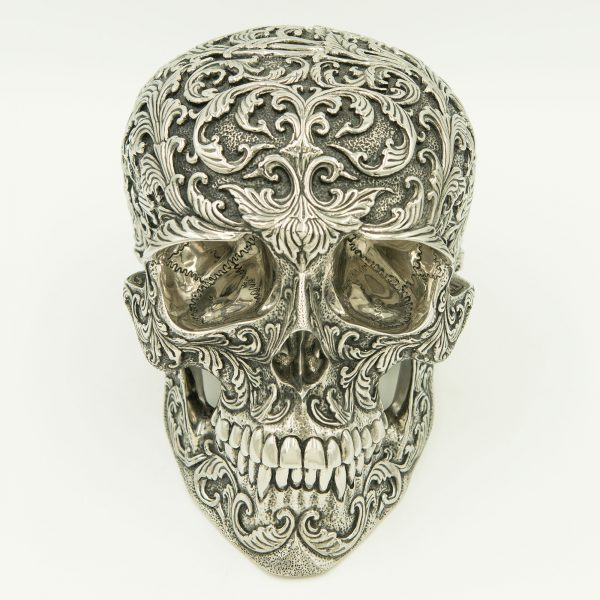 Stainless Steel Skull Floral